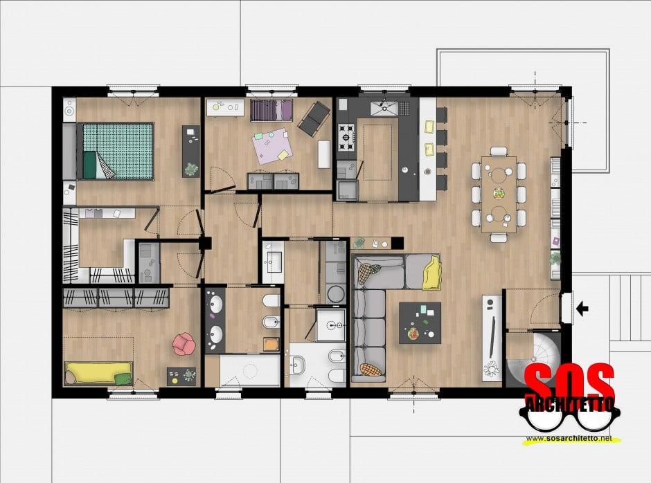 Arredamento casa progetto 016 sos architetto andrea for Aggiungendo una stanza al garage