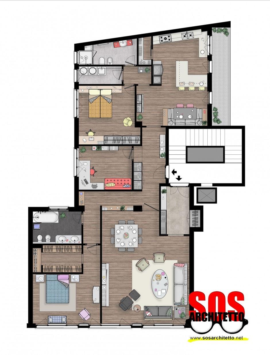 Arredamento casa progetto 019 sos architetto sos for Arredamento colorato