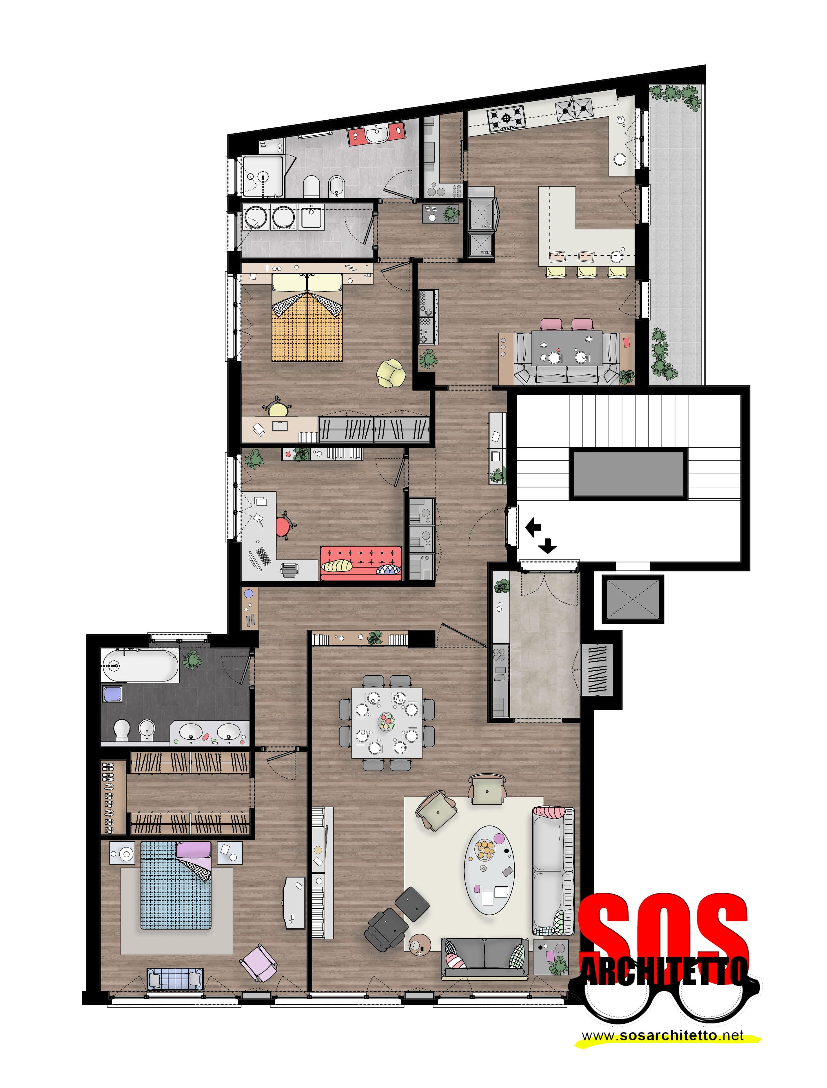 Arredamento casa progetto 019 sos architetto sos for Progetto arredo casa on line