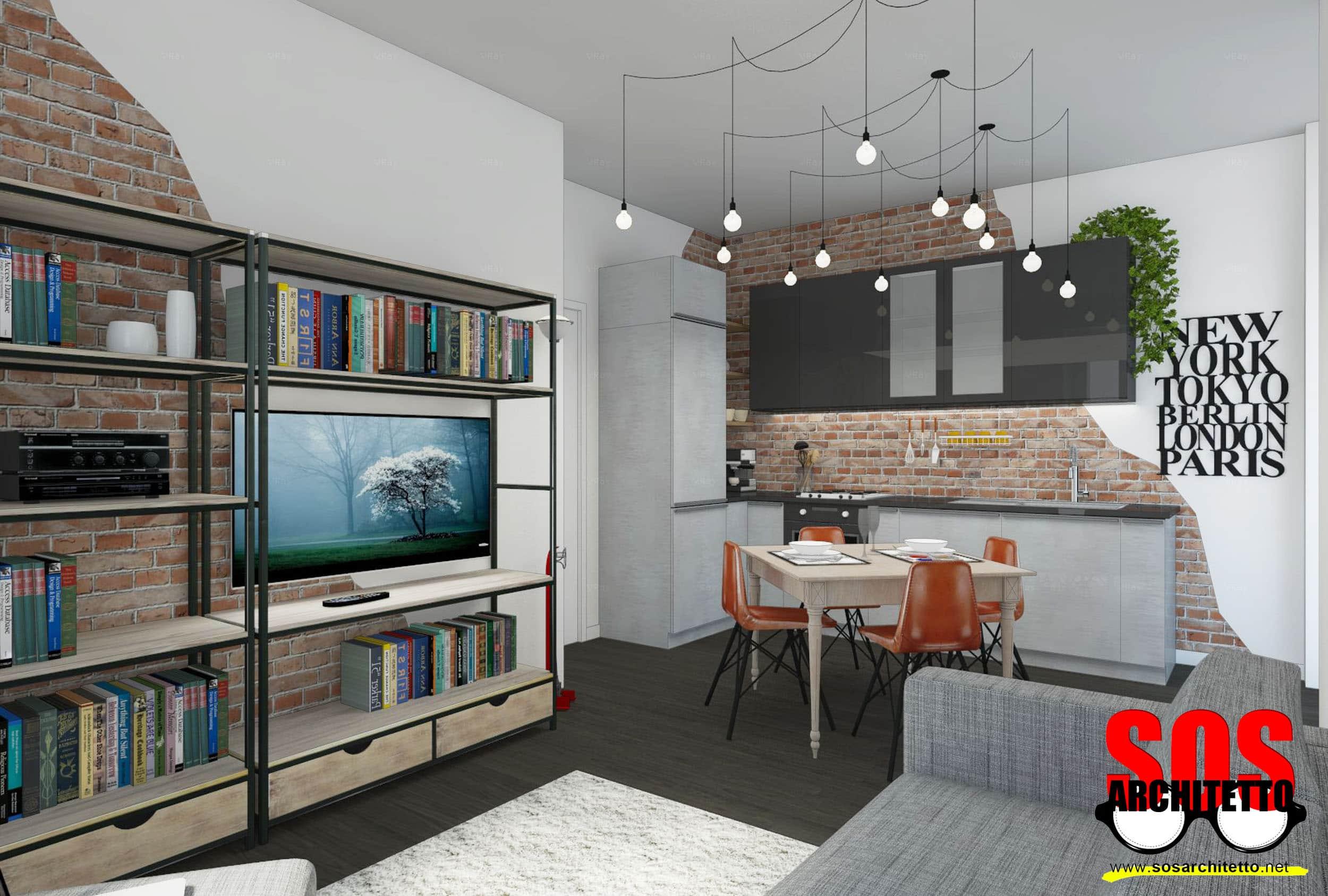 Cucina a vista in bilocale sos architetto - Cucina soggiorno piccola ...