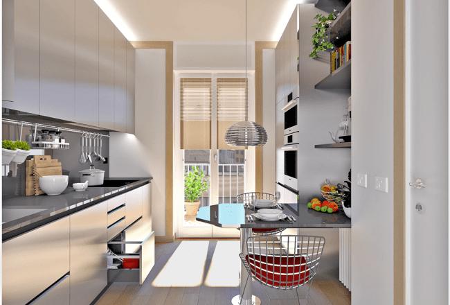 cucina-acciaio-silestone-parquet