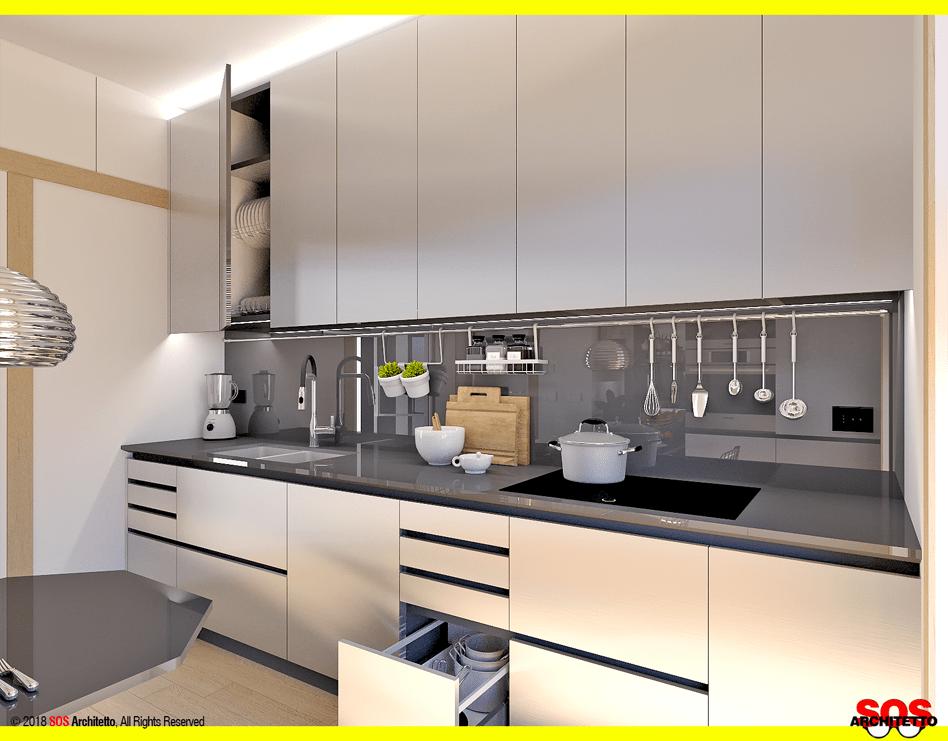 cucina-acciaio-silestone-top-nero