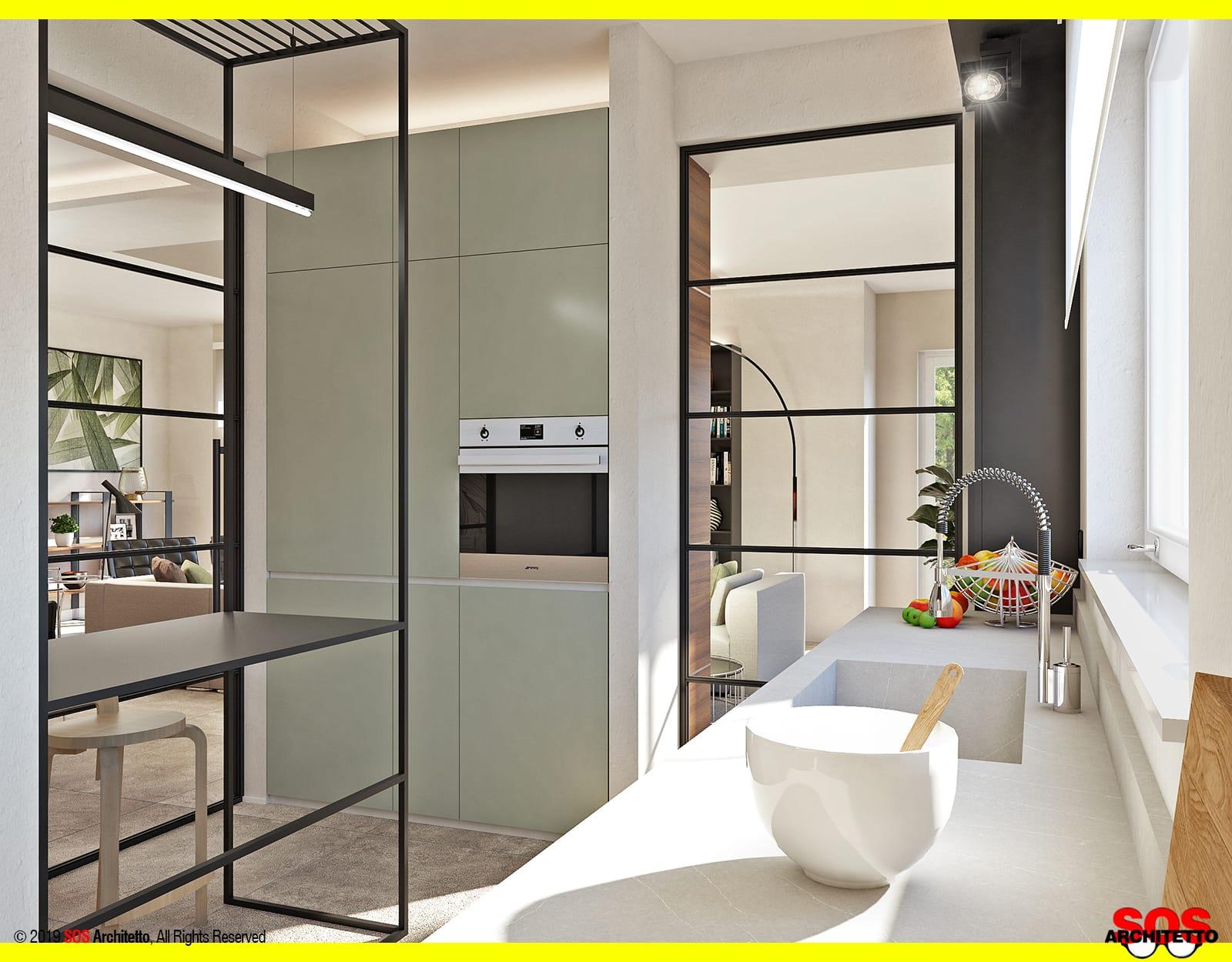 Cucina Con Vetrata Scorrevole vetrate scorrevoli: dividere cucina e soggiorno - sos architetto