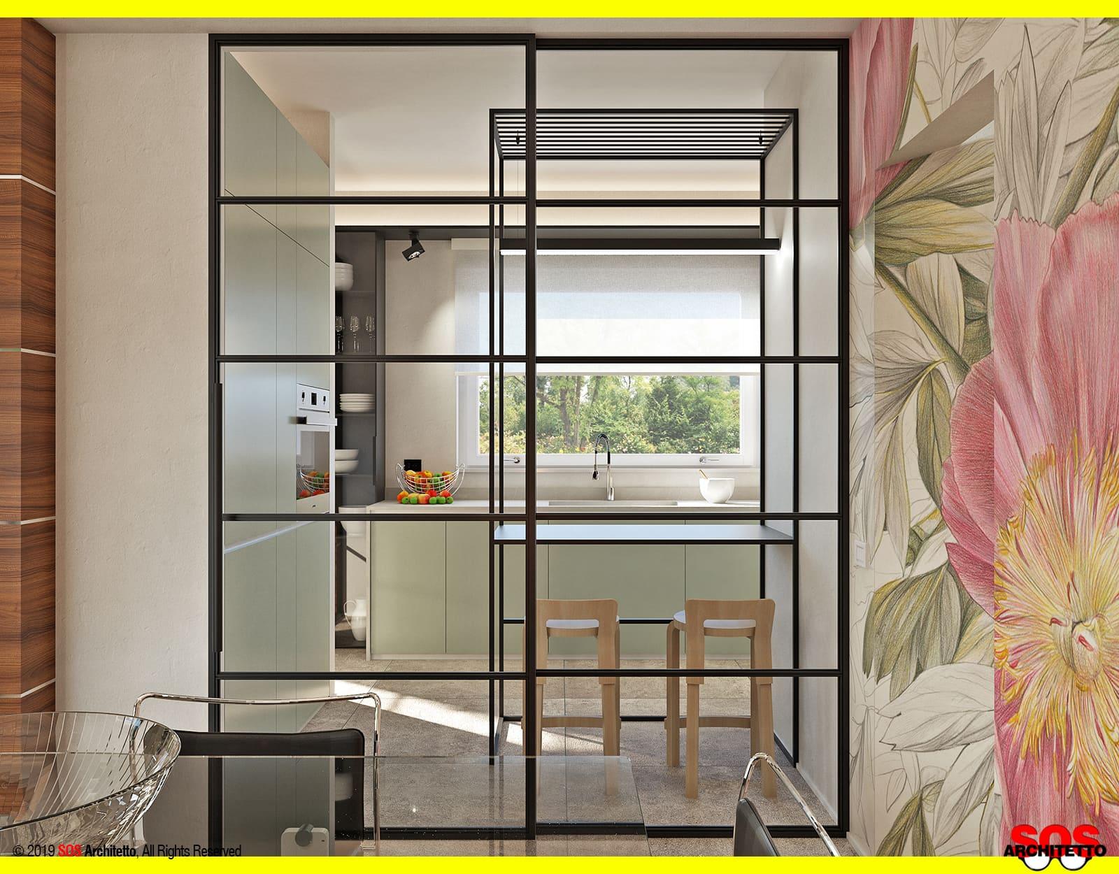 Lo Space Senza Pareti vetrate scorrevoli: dividere cucina e soggiorno - sos architetto